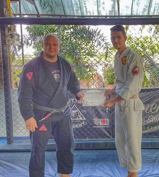 Trained in BJJ with Professor Hans Hutton